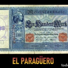 Billetes extranjeros: ALEMANIA BILLETE CLASICO 100 MARKOS DE 1908 CON SELLO VIOLETA ESVASTICA DE LA ALEMANIA NAZI. Lote 215045467