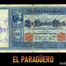 Billetes extranjeros: ALEMANIA BILLETE CLASICO 100 MARKOS DE 1908 CON SELLO VIOLETA ESVASTICA DE LA ALEMANIA NAZI. Lote 215045470
