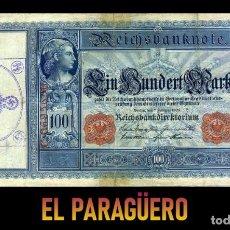 Billetes extranjeros: ALEMANIA BILLETE CLASICO 100 MARKOS DE 1908 CON SELLO VIOLETA ESVASTICA DE LA ALEMANIA NAZI. Lote 215045475