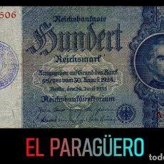 Billetes extranjeros: ALEMANIA BILLETE CLASICO 100 MARKOS DE 1935 CON SELLO VIOLETA ESVASTICA DE LA ALEMANIA NAZI. Lote 215071451