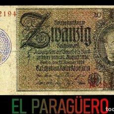 Billetes extranjeros: ALEMANIA BILLETE CLASICO 20 MARKOS DE 1929 CON SELLO VIOLETA ESVASTICA DE LA ALEMANIA NAZI. Lote 215077362