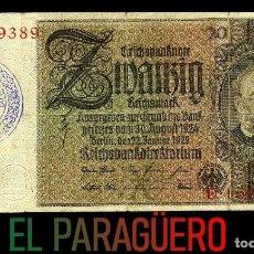 Billetes extranjeros: ALEMANIA BILLETE CLASICO 20 MARKOS DE 1929 CON SELLO VIOLETA ESVASTICA DE LA ALEMANIA NAZI. Lote 215077370