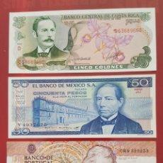 Billetes extranjeros: BILLETES DE COSTA RICA, MÉXICO Y PORTUGAL - 2 PLANCHA Y 1 CIRCULADO. Lote 215247723