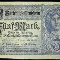 Billetes extranjeros: ALEMANIA 5 MARCOS 1917. PICK 56B. Lote 215373897