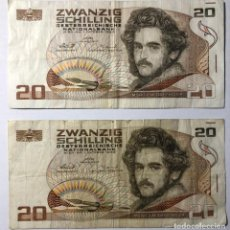 Billetes extranjeros: LOTE DE 2 BILLETES AUTRIACOS. DE 20 SCHILING 1986. Lote 215723837