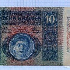 Billetes extranjeros: 10 CORONAS 1915 (1919) AUSTRIA. P #51A. Lote 216543973