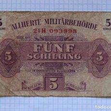 Billetes extranjeros: 5 CHELINES 1944 AUSTRIA. P #105. Lote 216551823