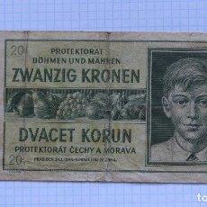 Billetes extranjeros: 20 CORONAS 1944 PROTECTORADO BOHEMIA Y MORAVIA. P #9A. Lote 237861345