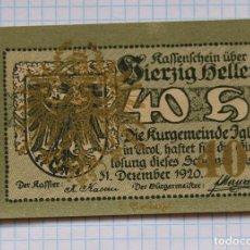 Billetes extranjeros: NOTGELD. AUSTRIA. 40 HELLER 1920 IGLS. Lote 216590027