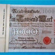 Billetes extranjeros: ALEMANIA 1 BILLETE DE 1000 MARK DEL 1910 DE FAJÍN - SELLO ROJO. S/C. Lote 217144222