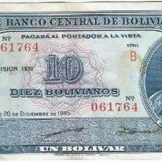 Billetes extranjeros: BOLIVIA 10 BOLIVIANOS 1952 PICK 139.B.1. Lote 217577628