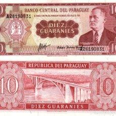 Billetes extranjeros: PARAGUAY. 10 GUARANÍES. 1963. P-196B. SC. Lote 218280943