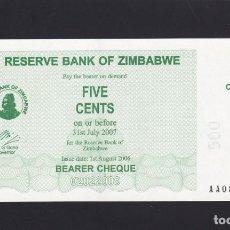 Notas Internacionais: ZIMBABWE - 5 CENTS DE 2007 - SIN CIRCULAR. Lote 218324682