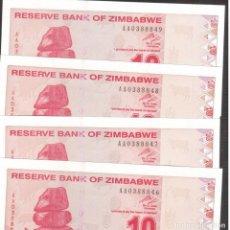 Billetes extranjeros: BILLETE DE AFRICA ZIMBAGUE 4 CORRELATIVAOS Y PLANCHA. Lote 218453802