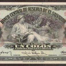 Billetes extranjeros: EL SALVADOR. BONITO 1 COLON 14.1.1943. PICK 75. ESCASILLO.. Lote 219217005