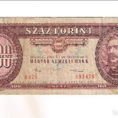 Billetes extranjeros: BILLETE DE 100 FORINT (FLORINES) DE HUNGRIA DE 1984. BC. WORLD PAPER MONEY-171G (BE456). Lote 219263213