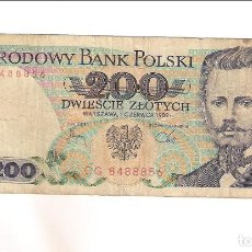 Notas Internacionais: BILLETE DE 200 ZLOTYCH DE POLONIA DE 1986. BC- WORLD PAPER MONEY-144B (BE554). Lote 219319888