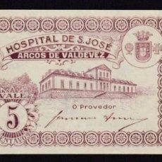 Notas Internacionais: PORTUGAL - 5 CENTAVOS HOSPITAL SAN JOSE, ARCOS DE VALDEVEZ 1920 - SIN CIRCULAR. Lote 219424352