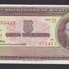 Notas Internacionais: BOLIVIA - 5 BOLIVIANOS DE 1945 - SIN CIRCULAR. Lote 219429528