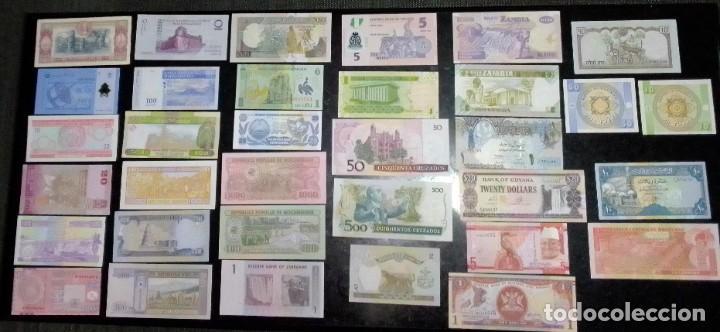 Billetes extranjeros: 34 billetes mundiales nuevos perfecto estado sin circular - Foto 2 - 219457565