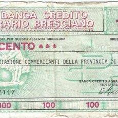Billetes extranjeros: ITALIA - ITALY 100 LIRE 13-12-1976 BRESCIA. Lote 219612087