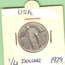 Billetes extranjeros: PLATA-USA . QUARTER DOLLAR 1929. 6,25 GRAMOS DE LEY 0,900. KM#145. Lote 219661127