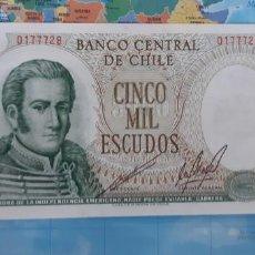 Notas Internacionais: CHILE 5000 ESCUDOS 1967 P147B UNC SC. Lote 220618051