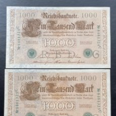 Billetes extranjeros: 1000 MARCOS 21-04-1910 NUMERACIÓN CORRELATIVA. Lote 220955477