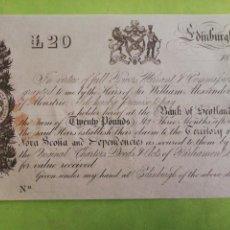 Notas Internacionais: 20 LIBRAS 1840 BANCO DE ESCOCIA. Lote 221106415