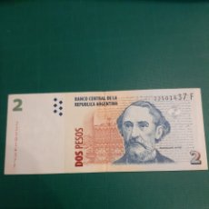 Billetes extranjeros: ARGENTINA DOS PESOS BARTOLOME MITRE SERIE F 22501437 NUMISMÁTICA COLISEVM. Lote 221340100