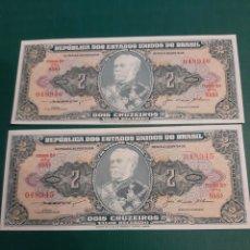 Billetes extranjeros: PAREJA CORRELATIVA 048945 / 6 PLANCHA SC BRASIL 155 / 1958 KM 151 2 CRUZEIROS DUQUE CAXIAS. Lote 221343212