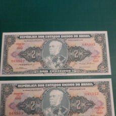 Billetes extranjeros: BRASIL PAREJA CORRELATIVA PLANCHA 948942/3 2 CRUCEIROS 1955/1958. Lote 221343443