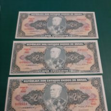 Billetes extranjeros: TRÍO PLANCHA SC KM 151 BRASIL 2 CRUZEIROS 1955/1958 SERIE 048932/33/34 DUQUE DE CAXIAS. Lote 221343793