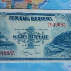 Notas Internacionais: INDONESIA 1 RUPIAH RUPIA 1951 P38 UNC SC. Lote 221649038