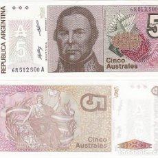 Billetes extranjeros: ARGENTINA : 5 AUSTRALES . ND 1985-89 SERIE A. SC.UNC. PK.324 (F.2). Lote 221712842