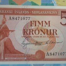 Billetes extranjeros: ISLANDIA 5 KRONUR CORONAS 1957 P37B SC UNC. Lote 221887440