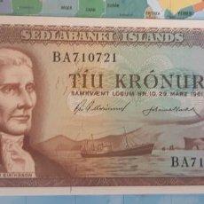 Billetes extranjeros: ISLANDIA 10 KRONUR CORONAS 1961 P42 SC UNC. Lote 221888983