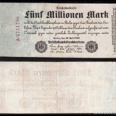 Billetes extranjeros: ALEMANIA ; 5 MILLONES DE MARCOS. Lote 221955821