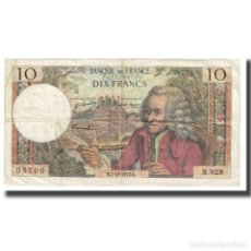 Billetes extranjeros: FRANCIA, 10 FRANCS, 1972, 1972-12-07, BC, FAYETTE:62.59, KM:147D. Lote 221992333