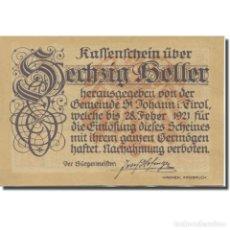 Billetes extranjeros: BILLETE, AUSTRIA, ST. JOHANN IN TIROL, TIROL GEMEINDE, 60 HELLER, MONTAGNE. Lote 222089996
