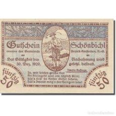 Billetes extranjeros: BILLETE, AUSTRIA, SCHÖNBICHL N.Ö. GEMEINDE, 50 HELLER, TEXTE 2, 1920. Lote 222090001