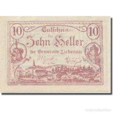 Billetes extranjeros: BILLETE, AUSTRIA, LIEBENAU, 10 HELLER, TEXTE 1, 1921, 1921-05-01, EBC, MEHL:FS. Lote 222090025