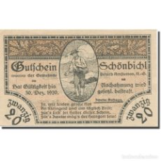 Billetes extranjeros: BILLETE, AUSTRIA, SCHÖNBICHL N.Ö. GEMEINDE, 20 HELLER, TEXTE 2, 1920. Lote 222090057