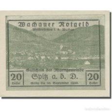 Billetes extranjeros: BILLETE, AUSTRIA, WACHAUER NOTGELD - SPITZ - KIRCHE N.Ö. GEMEINDE, 20 HELLER. Lote 222090061