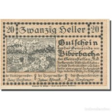 Billetes extranjeros: BILLETE, AUSTRIA, BIBERBACH, 20 HELLER, TEXTE 1, 1920, 1920-12-31, EBC, MEHL:FS. Lote 222090062