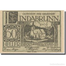 Billetes extranjeros: BILLETE, AUSTRIA, LINDABRUNN, 50 HELLER, TEXTE 4, 1920, 1920-12-31, EBC, MEHL:FS. Lote 222090085