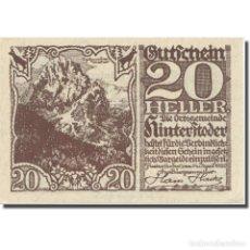 Billetes extranjeros: BILLETE, AUSTRIA, HINTERSTODER, 20 HELLER, TEXTE 2, 1920, 1920-12-31, EBC. Lote 222090102