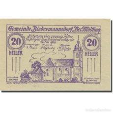 Billetes extranjeros: BILLETE, AUSTRIA, BIEDERMANNSDORF, N.Ö., GEMEINDE, 20 HELLER, N.D, 1920. Lote 222090112