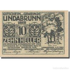 Billetes extranjeros: BILLETE, AUSTRIA, LINDABRUNN, 10 HELLER, TEXTE, 1920, 1920-12-31, EBC, MEHL:FS. Lote 222090113