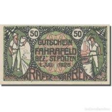 Billetes extranjeros: BILLETE, AUSTRIA, FAHRAFELD, 50 HELLER, TEXTE 2, 1920, 1920-07-01, EBC, MEHL:FS. Lote 222090187